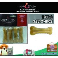 "SNACK ANJING TBONE RAWHIDE NATURAL PRESSED BONE 3"" ISI 4 PCS/ DOG FOOD"