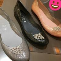 Sepatu Flat Jelly Bunny Size 38 Hitam - Hitam, 38