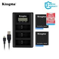 Baterai Kit KINGMA GoPro Hero 8 Black 2-pack Triple Charger LCD