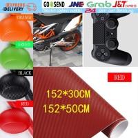 152x50/30CM Sekotlet Kevlar Vinyl Sticker Karbon Fiber Mobil Tahan Air - RED 30CM