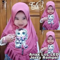 Kerudung anak LOL REMPEL led lampu 1 kerudung anak paud 3-6th hijab