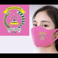 Masker Korea Bahan Kain Scuba Logo Bhayangkari dan POLRI