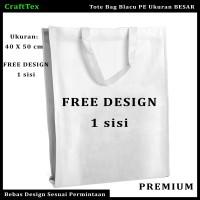 Tas Tote Bag Blacu / Tas Jinjing Ukuran Besar Free Design