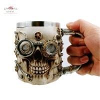 Cup 3D Design Gear Skull Beer Coffee Mug Stainless Steel Tea Mug