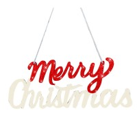 Ornamen Gantungan Pintu dengan Bahan Kayu dan Gambar Pohon Natal