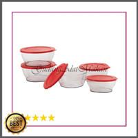 Dijual TERMURAH Clear Bowl Set Merah 5pcs Limited
