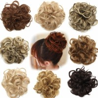 Extensions Hairdressing Women's Curly Messy Bun Hair Twirl Piece