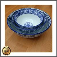 """Mangkok Set Keramik Biru Putih utk Makan / wadah saji isi 3 ( 6"""", 7"""","""