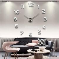 Jam Dinding 3D DIY Model Cermin Kristal untuk Dekorasi Ruang Tamu