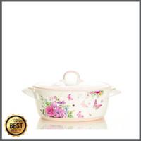 Promo Kaserol Keramik Oval Besar Capodimonte (Pink/Blue) Berkualitas