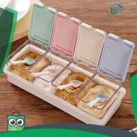 ❤Truman✫4 Grid Plastic Wheat Straw Flip Drawer Type Spice Jar