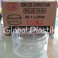 Muraaaahhh 12pcs Toples Kue Kering Nastar Bulat Plastik Mika 250gr