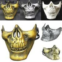 Bayar di TempatRetro 3D Skull Skeleton Half Face Pelindung Masker