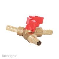 Clamp 3 Way Brass T Type Shut off Ball Valve Barb Fuel Gas Oil Valve