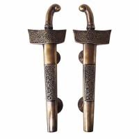 """14-3/4"""" Pasangan Handle Pintu Jati Kuningan / Door Pull - Ornate Keris"""