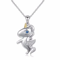 925 Sterling Silver Unicorn Pony Pendant Kalung Liontin