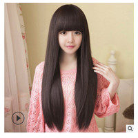 Wig Wanita Model Poni Lurus Panjang