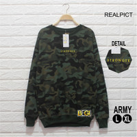 Sweater Army Stronger Casual Bahan Fleece High Quality Outfit Trend