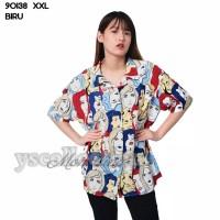 YS - G1 - 90138 Baju Blouse Atasan XXL Jumbo Murah Wanita Kekinian - Biru, L