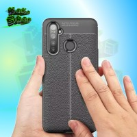 AUTO FOCUS CASE REALME C3 TPU LEATHER SARUNG HP KULIT JERUK