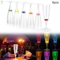 6Pcs Gelas Wine / Champagne dengan Lampu LED