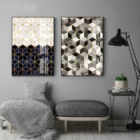 Abstract Geometric Marble Canvas Painting Poster Prints Gallery Wall