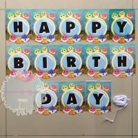 Banner Bunting Flag HBD Happy Birthday Ultah Baby Shark