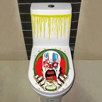 Dekorasi Halloween 1Pc Stiker Dinding / Dudukan Toilet Gambar Badut