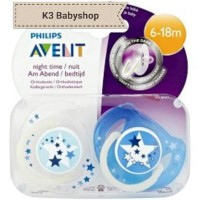 Empeng Avent Night Time Soother 6 - 18m Star Glow in the Dark Pacifier