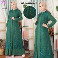 dress tulle abinayalah gamis maxi cape mewah muslimah