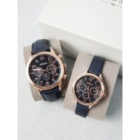 Fossil His and Her Navy Leather Watch Gift Set BQ2186SET
