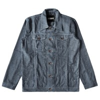 Scape Gear Herringbone Denim Trucker Jacket Jeans Jaket Blue Biru Pria