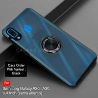 Calandiva Samsung A20 A30 Hard Case Casing Frosted Ring Kickstand