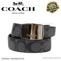 COACH Dress Plaque Cut Reversible Belt Signature Leather 100%AUTHENTIC