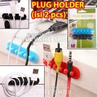 Plug Holder/ Wire Cable Clip Hanger/ Klip Gantungan Kabel (isi 2 pcs)