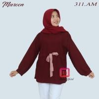 blouse muslim wanita motif tali syari moscrepe premium - Maroon