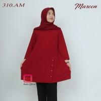 blouse muslim tunik wanita flare crepe sand bisa jumbo baju import - Navy