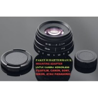 Lensa FIX Mirrorless Fujian 35mm f1.6 - Fuji,Sony,Canon mount adapter