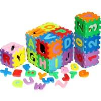 Mainan edukatif edukasi puzzle block spon huruf & angka / evamat Mini