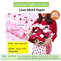 Love Motif Paper (1414) 1 lbr, aksesoris toko bunga, kertas bunga