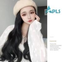 Wig / Rambut Palsu Wanita Model Panjang + Berombak Bahan Sintetis