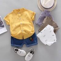 2Pcs/Set Kemeja Kerah Tegak Lengan Pendek+Celana Denim untuk Anak