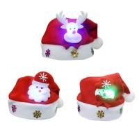 Adult Kids Christmas LED Light Hat Cartoon Santa Claus/Elk/Snowman