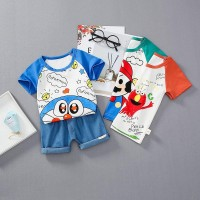 Denim Casual Setelan Kaos T-Shirt Anak Laki-laki Lengan Pendek