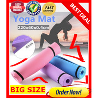 Matras Yoga 4mm ANTI LICIN Tikar Empuk Yoga Pilates Mat PREMIUM BLACK