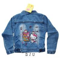 Jaket Jeans Anak Perempuan Bordir Hello Kitty