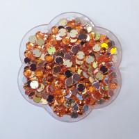 Mata Jahit Bentuk Bulat 8mm Corak Kristal Warna Orange (Isi 200)