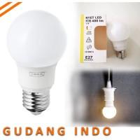 Bohlam LED E27 400 lumen / bulat putih opal SINAR WARM WHITE