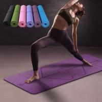 Karpet Pilates Yoga Mat Anti Slip TPE matras gym olahraga workout