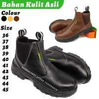 Sepatu Sefty Pria Safety Boots SEPTI Ujung Besi Kulit Asli Septy Sefti - Hitam, 36